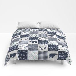 Camper antlers bears pattern minimal nursery basic navy mint grey white camping cabin chalet decor Comforters