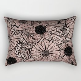 Floral Rose Gold Flowers and Leaves Drawing Black Rectangular Pillow