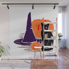 Witch Cat Pumpkin Woodcut Halloween Design Wall Mural