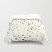 gold dots Duvet Covers featuring Gold Dots by Laura Maria Designs