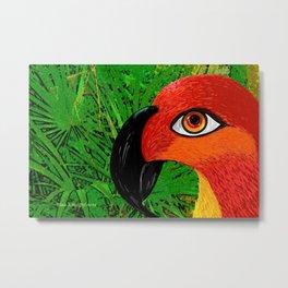Tropical Red Parrot Metal Print