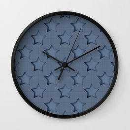 "Blue denim ""Stars"". Wall Clock"