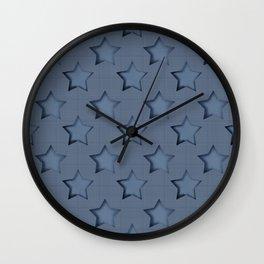 """Blue denim """"Stars"""". Wall Clock"""
