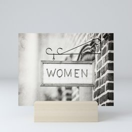 Ladies Room, Women's Restroom Sign Art, Black and White Bathroom Photo Mini Art Print
