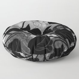 Queen Sweet Pea -- grayscale Floor Pillow