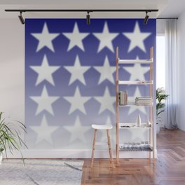 Blue and White Stars, Blue Faded Background With White Stars Wall Mural