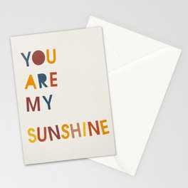 You are my sunshine, Mid century modern kids wall art, Nursery room Stationery Cards