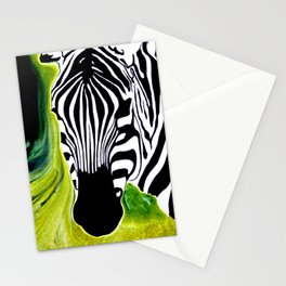Green Black and White Zebra Stationery Cards
