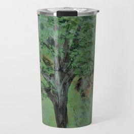 Palette Knife Tree on Wood Travel Mug