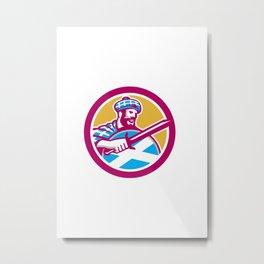 Highlander Scotsman Sword Shield Circle Retro Metal Print