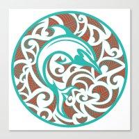 maori Canvas Prints featuring Maori Dolphin by freebornline
