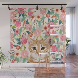 Orange Tabby floral cat head cute pet portrait gifts for orange tabby cat must haves Wall Mural
