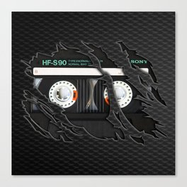 Retro classic vintage Black cassette tape Canvas Print