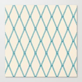 Nautical Fishing Net (Beige and Teal) Canvas Print