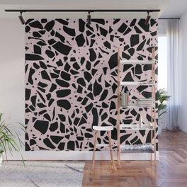 Terrazzo Spot Black on Blush Wall Mural
