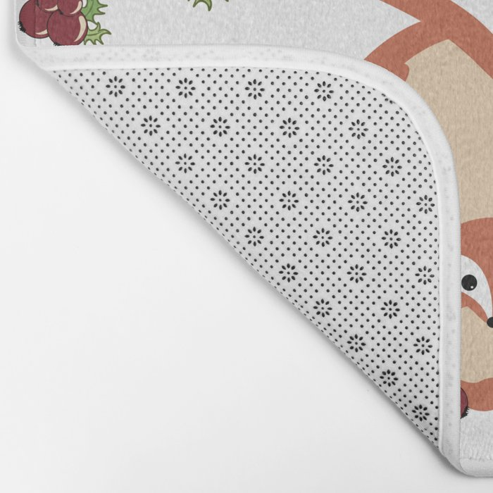 Family of foxes in winter Bath Mat