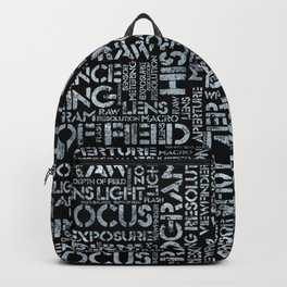 Photography Terms Word Pattern Glass on Black Backpack