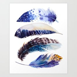 four feathers in blue Art Print