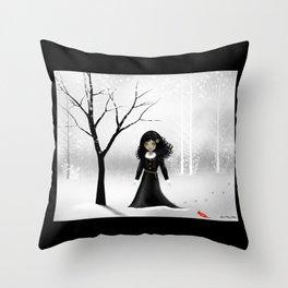 Dark Goth Girl Art - January Throw Pillow