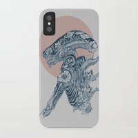 xenomorph iPhone & iPod Cases featuring Floral Alien by Marie Toh