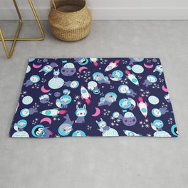 Arctic Astronauts Animals In Space Purple Blue Pattern Rug