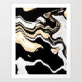 Glitchy gold Art Print