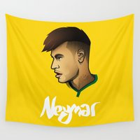 brazil Wall Tapestries featuring Neymar Brazil by Dave Flanagan