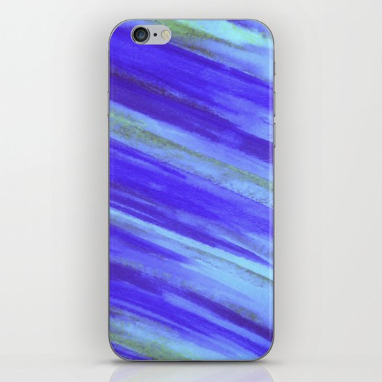 WASHED UP - Bold Blue Stripes Abstract Watercolor Painting Colorful Fun Surfer Ocean Waves iPhone & iPod Skin