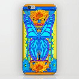 Blue Butterflies Gold Floral Deco Art iPhone Skin