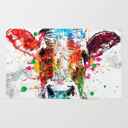 Cow Watercolor Grunge Rug
