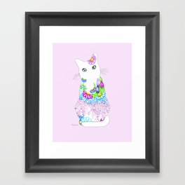 Blue-Eyed Lilac Kitty Framed Art Print