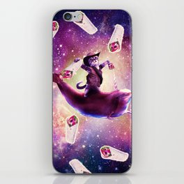 Cowboy Space Cat On Dolphin Unicorn - Burrito iPhone Skin