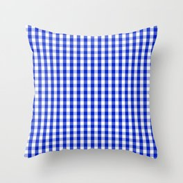 Cobalt Blue and White Gingham Check Plaid Squared Pattern Throw Pillow