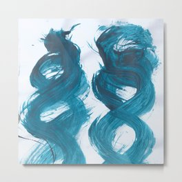 Spiral, Abstract, Blue Duck Metal Print