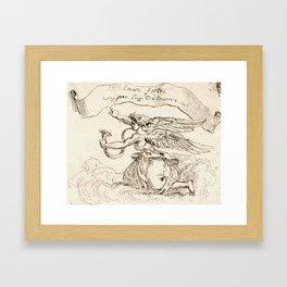 """Eugène Delacroix """"Angel Kneeling on Clouds"""" Framed Art Print"""