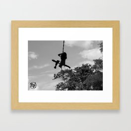 Girl on Swing B&W Framed Art Print