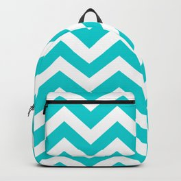 Dark turquoise - turquoise color - Zigzag Chevron Pattern Backpack