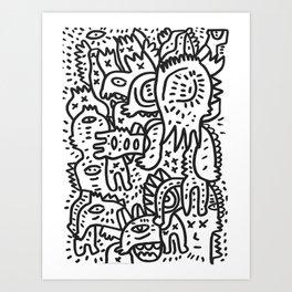 Cool Black and White Graffiti Street Art Creatures by Emmanuel Signorino Art Print