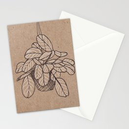 black and white hanging plant Stationery Cards