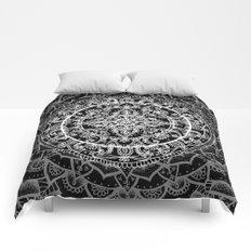 Detailed Black and White Mandala Pattern Comforters