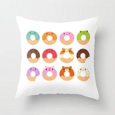 Happy Doughnuts Throw Pillow