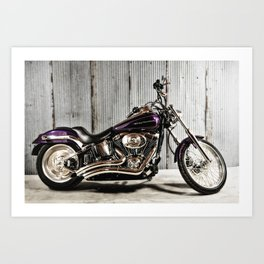 Purple Harley Softail Art Print
