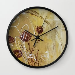 Yellow Tan Spring Abstract Flowers. Jodilynpaintings. Abstract Floral Wall Clock