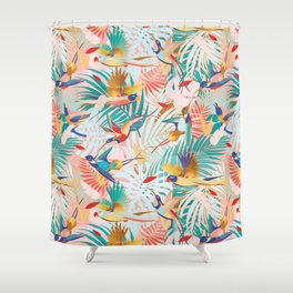 Colorful, Vibrant Paradise Birds and Leaves Shower Curtain
