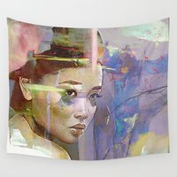 religion Wall Tapestries featuring Izanami goddess Japanese by Ganech joe
