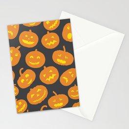 Gray and Orange Jack-O-Lantern Stationery Cards