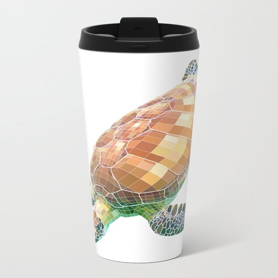 The Green Sea Turtle (Colored) Metal Travel Mug
