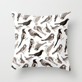 Garden Birds in Monochrome Throw Pillow