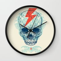 ink Wall Clocks featuring Skull Bolt by Rachel Caldwell