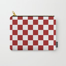 Cranberry Red and White Checkerboard Pattern Carry-All Pouch